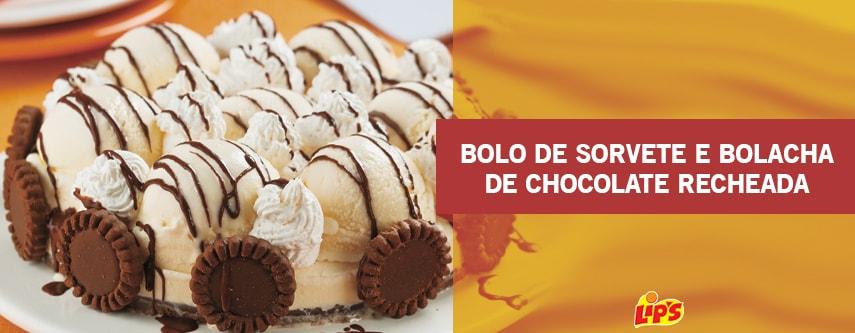 bolo de sorvete e bolacha de chocolate recheada