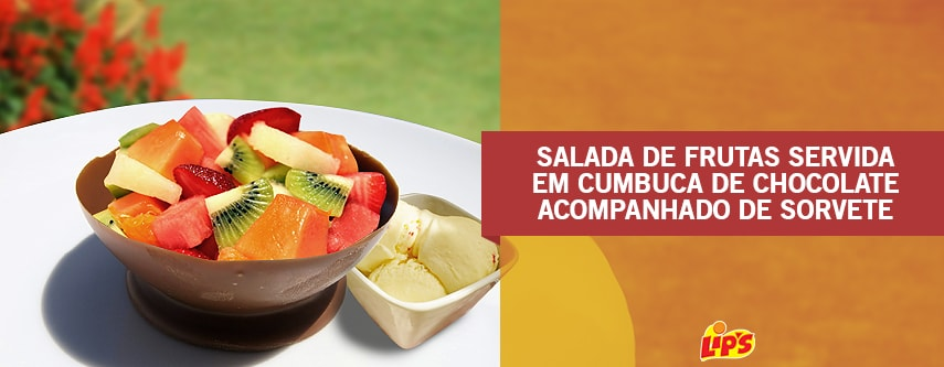 salada frutas chocolate sorvete